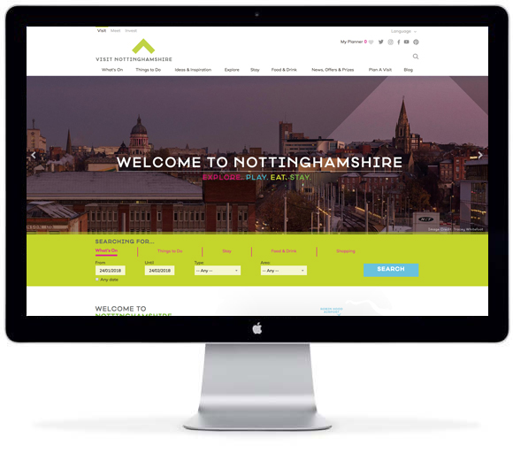 VIsit Nottinghamshire - a Tourism Elite solution from New Mind tellUs